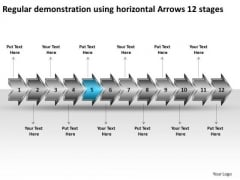 Regular Demonstration Using Horizontal Arrows 12 Stages Prototyping Business PowerPoint Slides