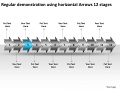Regular Demonstration Using Horizontal Arrows 12 Stages Technical Drawing PowerPoint Slides