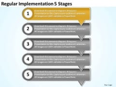Regular Implementation 5 Stages Flow Chart Free PowerPoint Templates