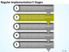 Regular Implementation 5 Stages Free Flowcharting PowerPoint Templates