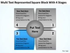 Represented Square Block With 4 Stages Ppt Marketing Business Plan Outline PowerPoint Slides