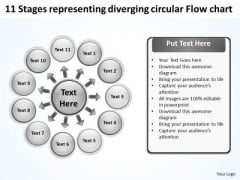 Representing Diverging Circular Flow Chart Relative Cycle Arrow Diagram PowerPoint Slides