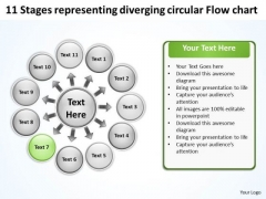 Representing Diverging Circular Flow Chart Relative Cycle Arrow Diagram PowerPoint Templates