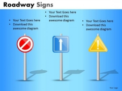 Road Signs With Arrows And Exclamation Marks PowerPoint Slides Ppt