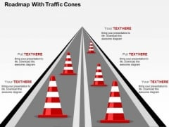 Roadmap With Traffic Cones PowerPoint Template