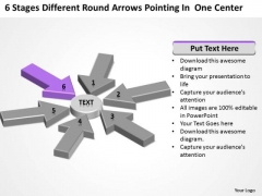 Round Arrows Pointing One Center Business Plan Format Template PowerPoint Templates