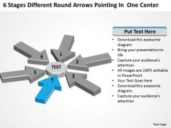 Round Arrows Pointing One Center Sample Business Plan For Restaurant PowerPoint Slides