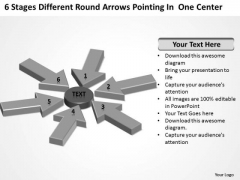 Round Arrows Pointing One Center Small Business Plan Template Free PowerPoint Slides