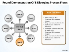 Round Demonstration Of 8 Diverging Process Flows Circular Arrow Diagram PowerPoint Templates