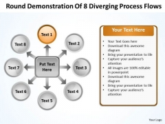 Round Demonstration Of 8 Diverging Process Flows Circular Arrow PowerPoint Slides