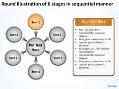 Round Illustration Of 6 Stages In Sequential Manner Business Cycle Arrow Process PowerPoint Slides