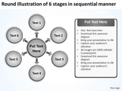 Round Illustration Of 6 Stages In Sequential Manner Cycle Arrow Process PowerPoint Slides