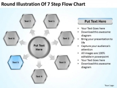 Round Illustration Of 7 Step Flow Chart Business Plan Sample Template PowerPoint Slides