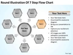 Round Illustration Of 7 Step Flow Chart Business Plans For PowerPoint Slides