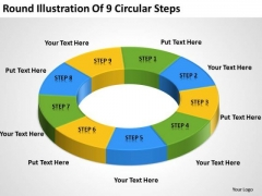 Round Illustration Of 9 Circular Steps Sales Business Plan PowerPoint Slides