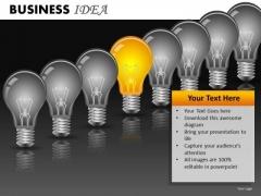 Row Of Light Bulbs PowerPoint Ppt Templates