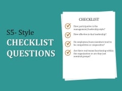 S5 Style Checklist Questions Ppt PowerPoint Presentation Show Structure