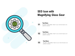 SEO Icon With Magnifying Glass Gear Ppt PowerPoint Presentation Portfolio Gallery