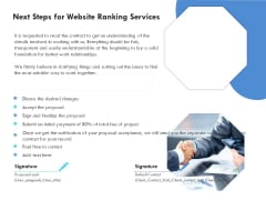 SEO Proposal Template Next Steps For Website Ranking Services Ppt PowerPoint Presentation Styles Graphics Download PDF