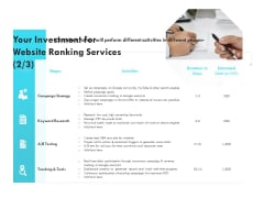 SEO Proposal Template Your Investment For Website Ranking Services Strategy Ppt PowerPoint Presentation Infographic Template Portfolio PDF