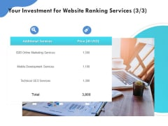 SEO Proposal Template Your Investment For Website Ranking Services Technical Ppt PowerPoint Presentation Styles Templates PDF