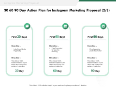 SMM 30 60 90 Day Action Plan For Instagram Marketing Proposal Ppt Icon Clipart Images PDF