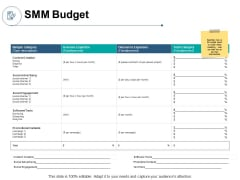 SMM Budget Outsource Expanses Ppt PowerPoint Presentation Icon Diagrams