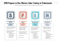 SPIN Program To Give Effective Sales Training To Professionals Ppt PowerPoint Presentation Outline Ideas PDF