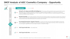 SWOT Analysis Of ADC Cosmetics Company Opportunity Mockup PDF