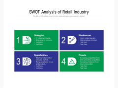SWOT Analysis Of Retail Industry Ppt PowerPoint Presentation Show Deck PDF