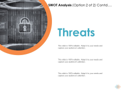 SWOT Analysis Option Contd Threats Ppt PowerPoint Presentation Summary Themes