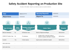 Safety Accident Reporting On Production Site Ppt PowerPoint Presentation Infographic Template Designs PDF