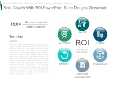 Sale Growth With Roi Powerpoint Slide Designs Download