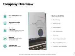 Sales And Business Development Action Plan Company Overview Ppt Styles Templates PDF