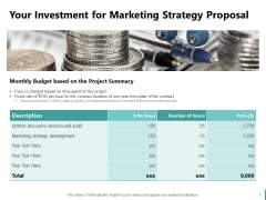 Sales And Business Development Action Plan Your Investment For Marketing Strategy Proposal Ppt Icon Samples PDF
