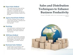 Sales And Distribution Techniques To Enhance Business Productivity Ppt PowerPoint Presentation File Gridlines PDF
