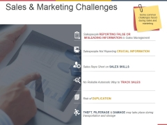 Sales And Marketing Challenges Ppt PowerPoint Presentation Ideas Slideshow