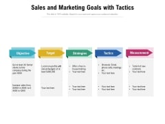 Sales And Marketing Goals With Tactics Ppt PowerPoint Presentation Gallery Brochure PDF