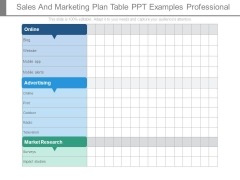 Sales And Marketing Plan Table Ppt Examples Professional