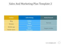 Sales And Marketing Plan Template 2 Ppt PowerPoint Presentation Background Image