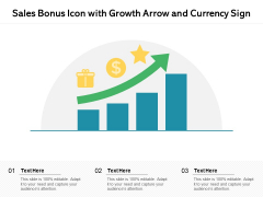 Sales Bonus Icon With Growth Arrow And Currency Sign Ppt PowerPoint Presentation Visual Aids Deck PDF