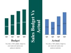 Sales Budget Vs Actual Ppt PowerPoint Presentation Show Master Slide