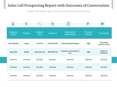 Sales Call Prospecting Report With Outcomes Of Conversation Ppt PowerPoint Presentation Gallery Slide Download PDF
