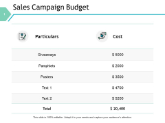 Sales Campaign Budget Management Ppt PowerPoint Presentation Styles Outline