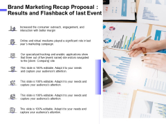 Sales Campaign Recap Brand Marketing Recap Proposal Results And Flashback Of Last Event Information PDF