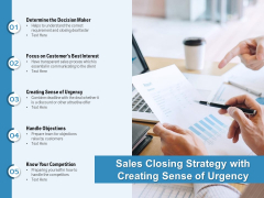 Sales Closing Strategy With Creating Sense Of Urgency Ppt PowerPoint Presentation Infographics Clipart