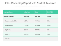 Sales Coaching Report With Market Research Ppt PowerPoint Presentation Gallery Graphic Tips PDF