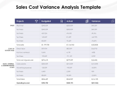 Sales Cost Variance Analysis Template Ppt PowerPoint Presentation Gallery Visual Aids PDF