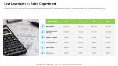 Sales Department Strategies Increase Revenues Cost Associated To Sales Department Slides PDF