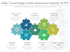 Sales Funnel Stage Create Awareness Example Of Ppt